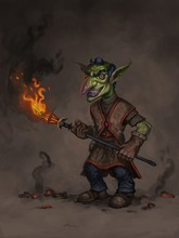 Digital Painting Of Goblin Character Holding A Flaming Torch And Smiling Against An Abstract Background - Digital Fantasy Illustration
