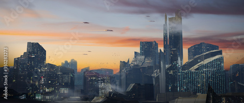 Fotografie, Obraz Digital painting of a futuristic sci-fi fantasy city with flying cars against a