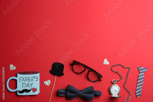 Fototapeta Flat lay composition male accessories on red background, space for text. Happy Father's day obraz