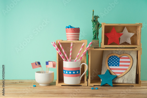 Fototapeta Happy Independence Day, 4th of July celebration concept with patriotic home decor on wooden table obraz