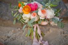 Wedding Bouquet With Peony, Ranunculus, Rose