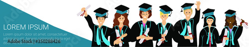 Long banner with happy graduate university students with diploma Wallpaper Mural