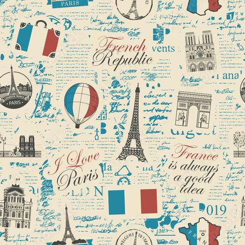 Tapety Francuskie  streszczenie-wektor-wzor-na-temat-francji-i-paryza-z-francuskimi-symbolami-zabytkami-architektury-i-mapa-w-kolorach-flagi-francuskiej-na-tle-strony-gazety-w-stylu-retro