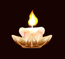 Burning Candle In A Metallic H...