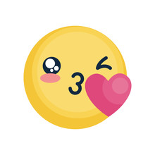 Emoji Face Blowing A Kiss Icon, Flat Style
