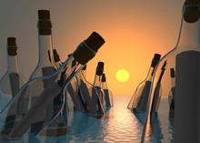 Botellas Con Mensaje Flotando ...