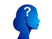 Silhouette Of A Woman With A Question Mark. The Concept Of A Difficult Decision, Many Questions, Lack Of Knowledge, Problems And Misunderstandings. Vector Illustration.
