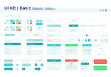 Control Panel UI Elements Kit. Setting Buttons. Basic Isolated Vector Icon, Bar And Dashboard Template. Web Design Widget Collection For Mobile Application With Light Theme Interface