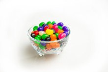 Small Glass Candy Jar Filled W...