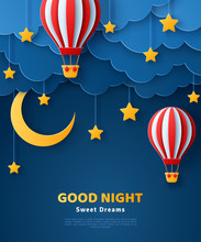 Fluffy Clouds On Dark Sky Background With Gold Moon, Stars And Hot Air Balloons. Vector Illustration. Paper Cut Style. Place For Text. Good Night Banner, Travel And Adventures Concept