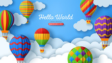 Beautiful Fluffy Clouds On Blue Sky Background With Colorful Hot Air Balloons. Vector Illustration. Paper Cut Style. Place For Text. Travel And Adventure Concept