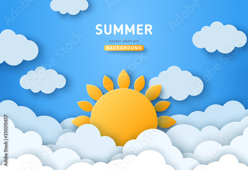 Obraz Summer day concept vector illustration. Cloudscape, blue sky with fluffy clouds and sun. Paper cut style. Place for text - fototapety do salonu