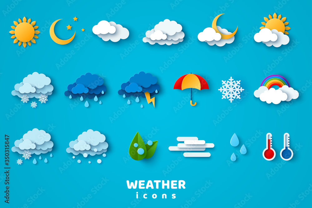 Fototapeta Paper cut weather icons set on blue background. Vector illustration. White clouds, dew on leaves, fog sign, day and night for forecast design. Winter and summer symbols, sun and thunderstorm stickers.
