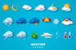 Paper cut weather icons set on blue background. Vector illustration. White clouds, dew on leaves, fog sign, day and night for forecast design. Winter and summer symbols, sun and thunderstorm stickers.
