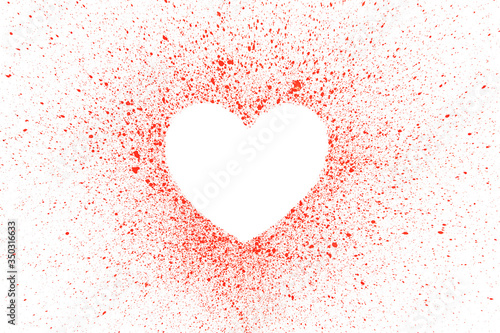 Red heart shape for text isolated on white background Fototapet