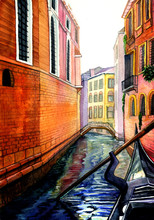 Water Canal In Venice, Gondola...