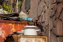 White Kitchen Pot In A Garbage...