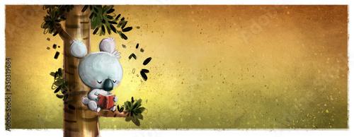 Obraz Koala reading a book sitting on a tree - fototapety do salonu