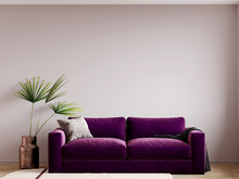 3d Render Living Room With A Bright Sofa In Purple Velor. Accent Textiles. Plant In A Copper Vase. Soft Beige Carpet. Lilac Tones. Beige Pink Paint
