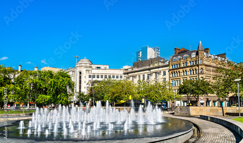 Photo Fountains at Piccadilly garden in Manchester, England