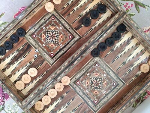 Backgammon with wooden inlay Fototapeta