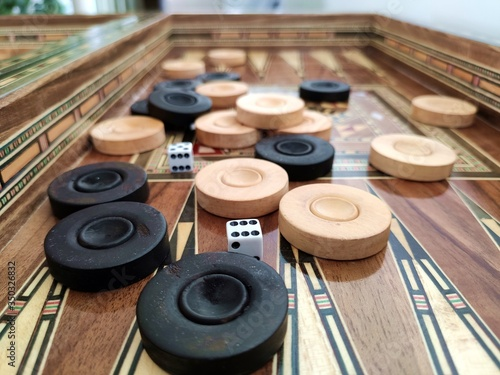Fotografering Backgammon with wooden inlay