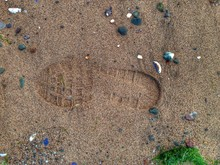 Shoe Print In Sand