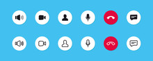 Set Of Video Call Icons. Video...