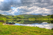Peaceful English Lake With Rowing Boats Watendlath The Lakes Cumbria England HDR