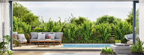 Cozy patio area with garden furniture sliding doors and swimming pool Fototapet