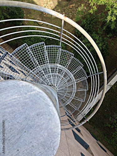 Fototapety, obrazy: High Angle View Of Metallic Steps Outside Building
