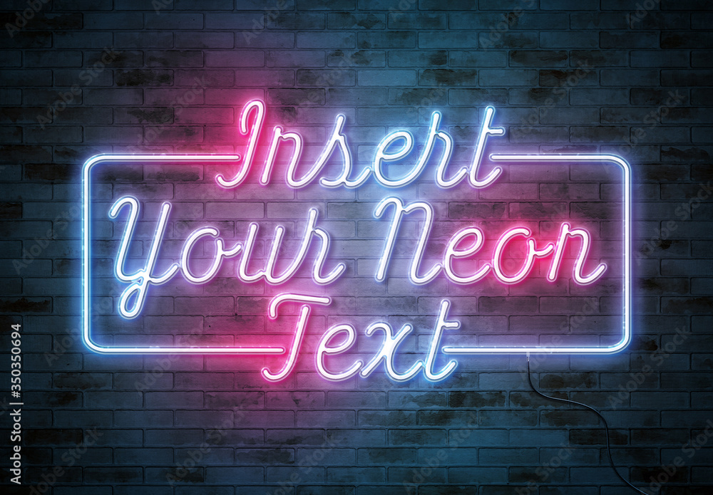 Fototapeta Neon Text Effect on Brick Wall with Wires Mockup
