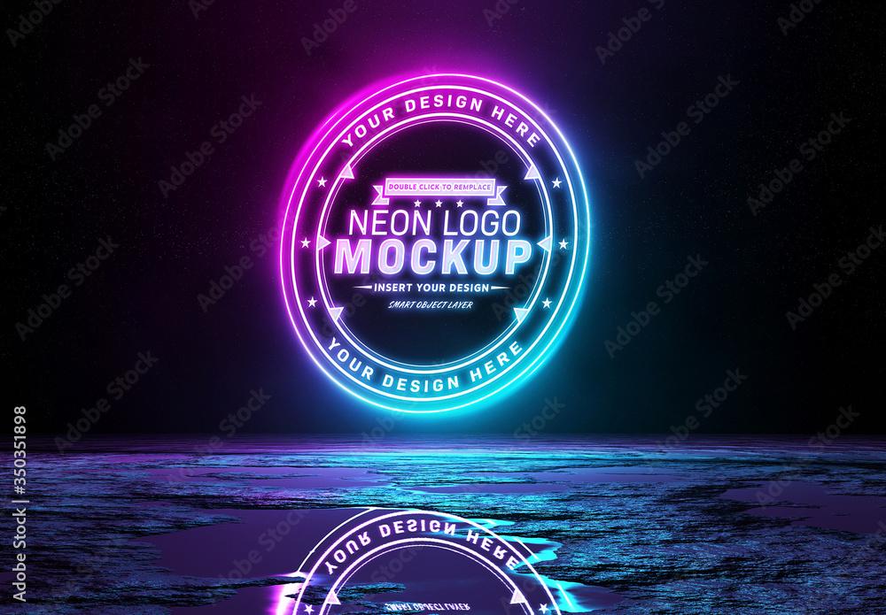 Fototapeta Reflective Neon Light Logo Mockup