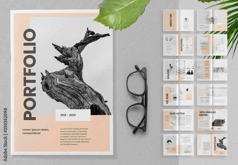 Fototapeta Portfolio Brochure Layout with Peach Accents