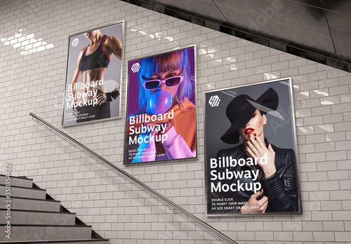 Obraz Billboards on Underground Stairs Wall Mockup - fototapety do salonu