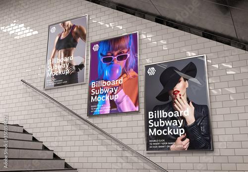 Fototapeta Billboards on Underground Stairs Wall Mockup obraz