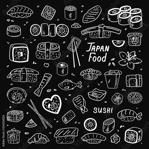 Japanese and Chinese cuisine. Food, doodles. Vector illustration. Simple style, suitable for cafe decoration