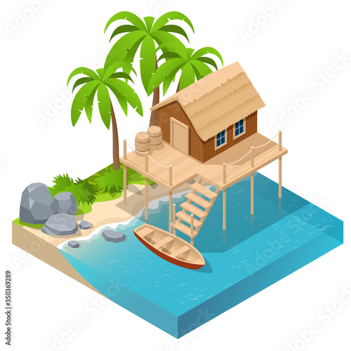 Isometric wooden house by the sea near palm trees Wallpaper Mural