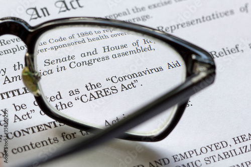 Closeup of the Coronavirus Aid, Relief, and Economic Security Act document Canvas Print