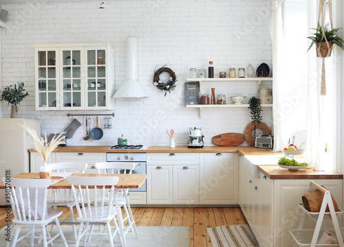 Obraz Scandinavian-style kitchen interior, vintage appliances and atmosphere - fototapety do salonu