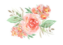 Delicate Watercolor Red And Orange Roses Floral Bouquet. Colorful Painting Flowers Composition With Tender Green Leaves And Pink Blossoms For Invitation, Wedding Greeting Cards Design, Banner Decor