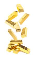 Shiny Gold Bars Falling Onto Heap On White Background