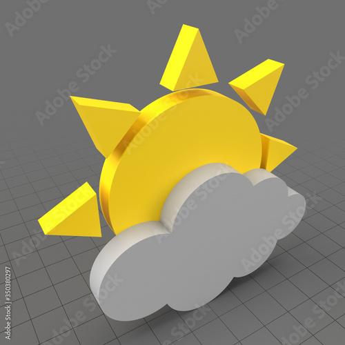 Obraz Partly cloudy weather symbol - fototapety do salonu