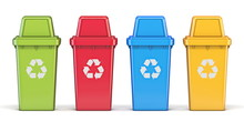 Four Colorful Recycle Bins Fro...