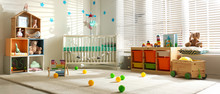 Baby Room Interior With Comfortable Crib. Banner Design