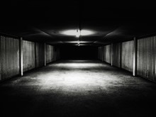 Empty Subway With Ceiling Lights And Walls