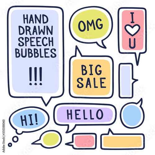 Hand drawn doodle speech bubbles set with accentuation, filled with paint strokes and example texts Big sale, Hello, Hi, love you Canvas Print