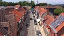 Aerial View Of Urban Street In Dadizele, Belgium