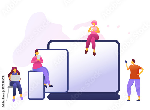 Cartoon icon with social media communication characters Canvas Print