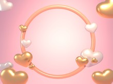 Pink Balloons Heart Frame 3d Render Background On Rose Gold Color Concept. 3d Illustration.